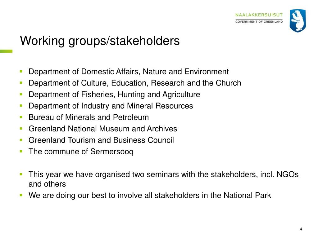 Working groups/stakeholders