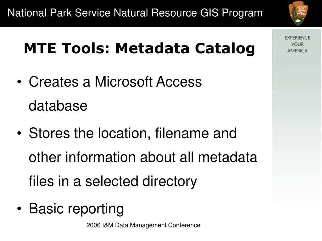 MTE Tools: Metadata Catalog