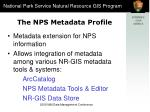 the nps metadata profile