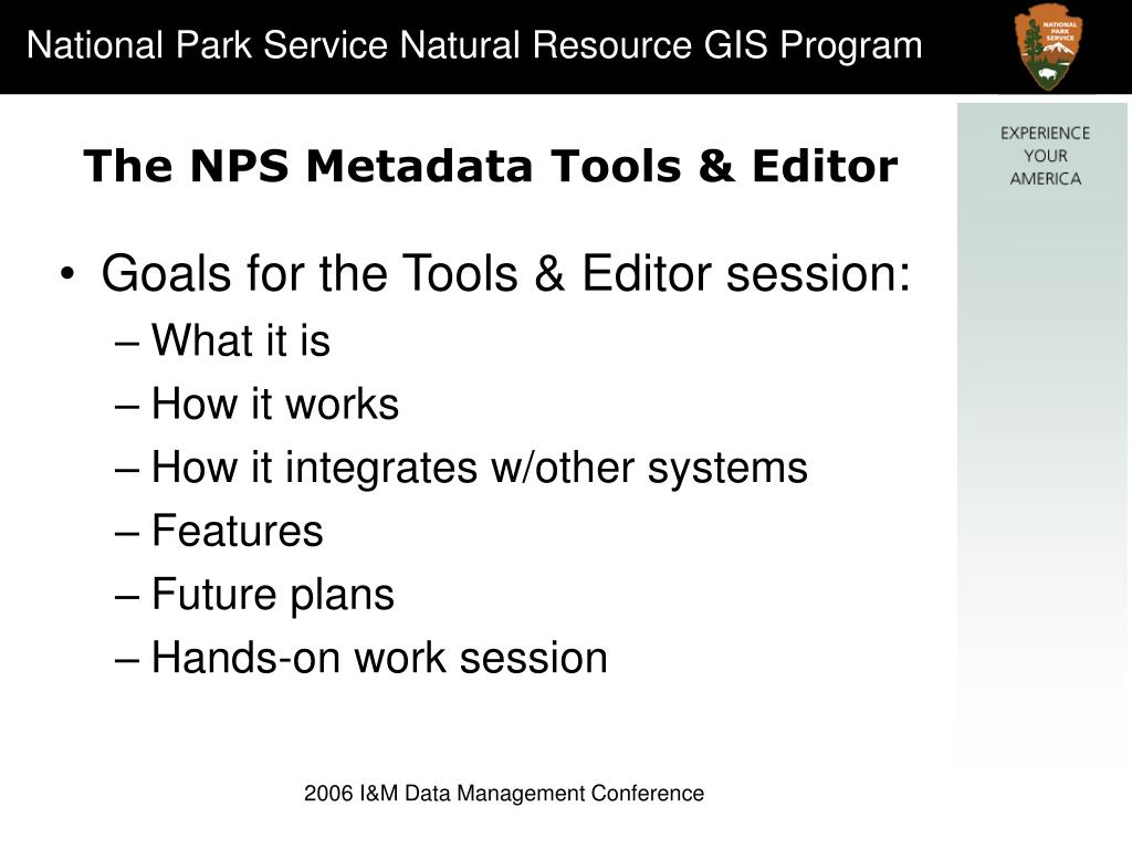 The NPS Metadata Tools & Editor