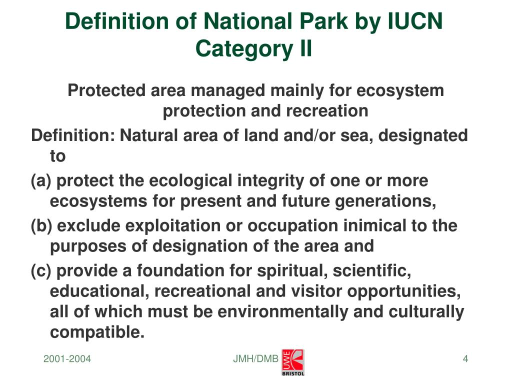 Definition of National Park by IUCN