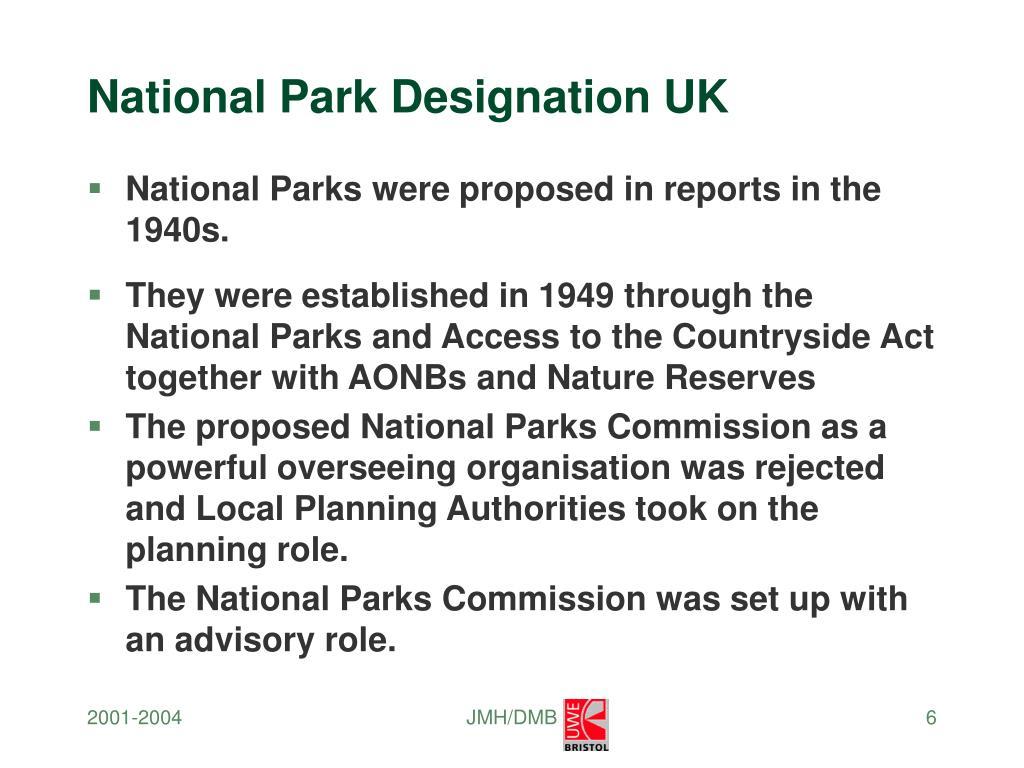National Park Designation UK