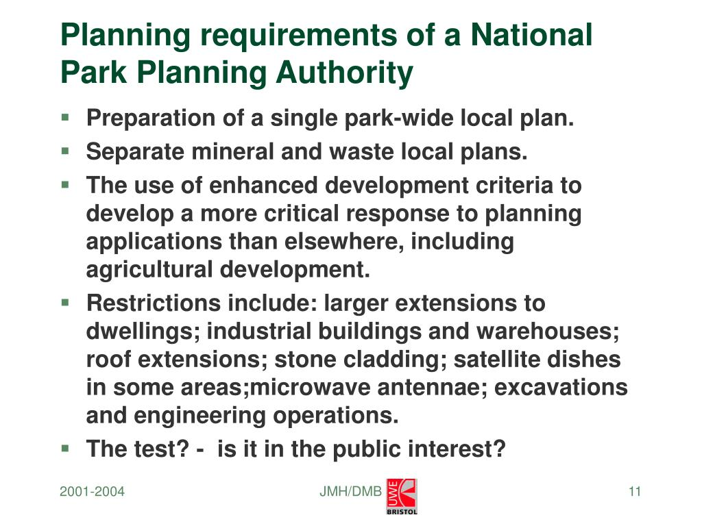 Planning requirements of a National Park Planning Authority