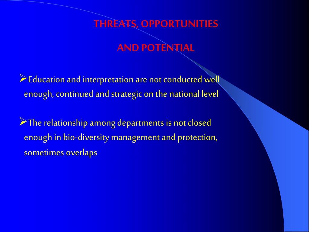 THREATS, OPPORTUNITIES