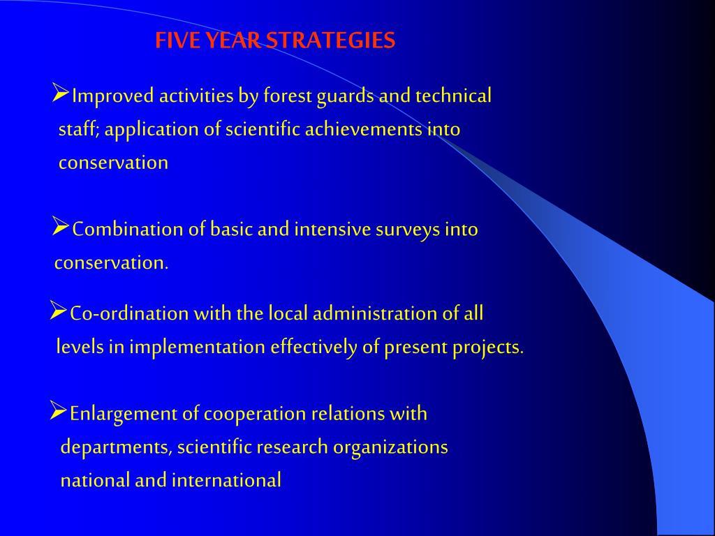 FIVE YEAR STRATEGIES