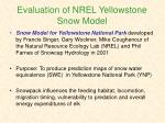 evaluation of nrel yellowstone snow model