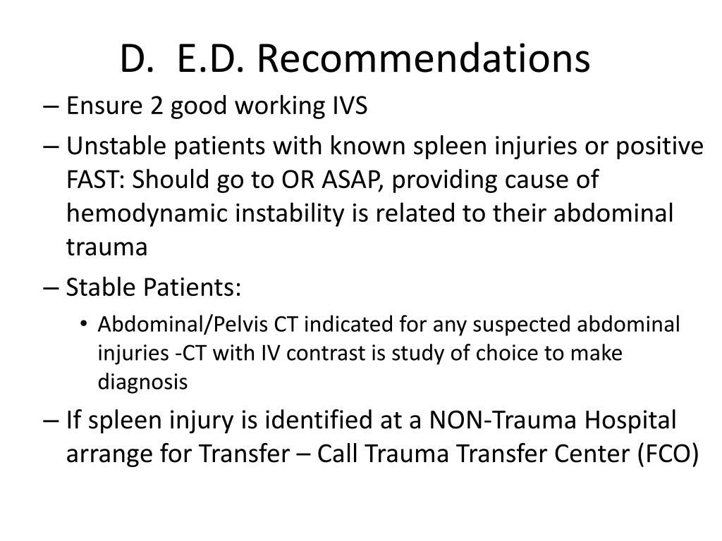 D.  E.D. Recommendations