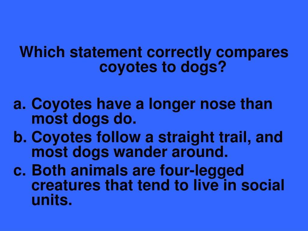 Which statement correctly compares coyotes to dogs?