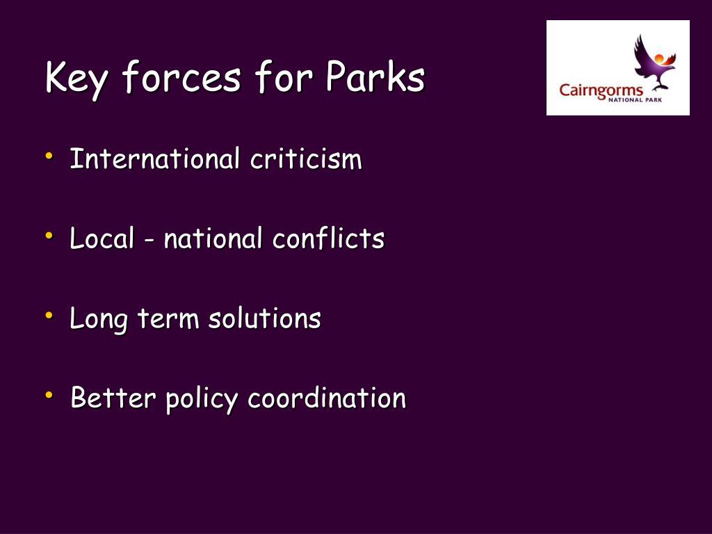 Key forces for Parks