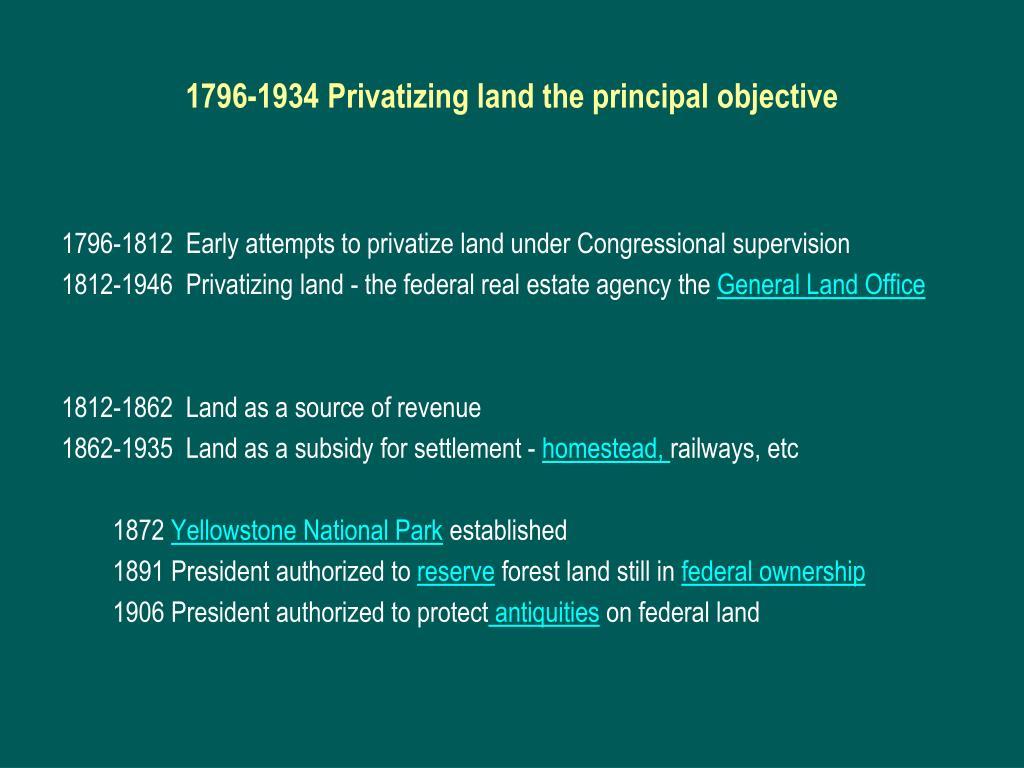 1796-1934 Privatizing land the principal objective