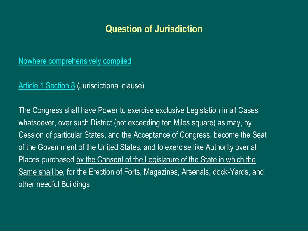 Question of Jurisdiction