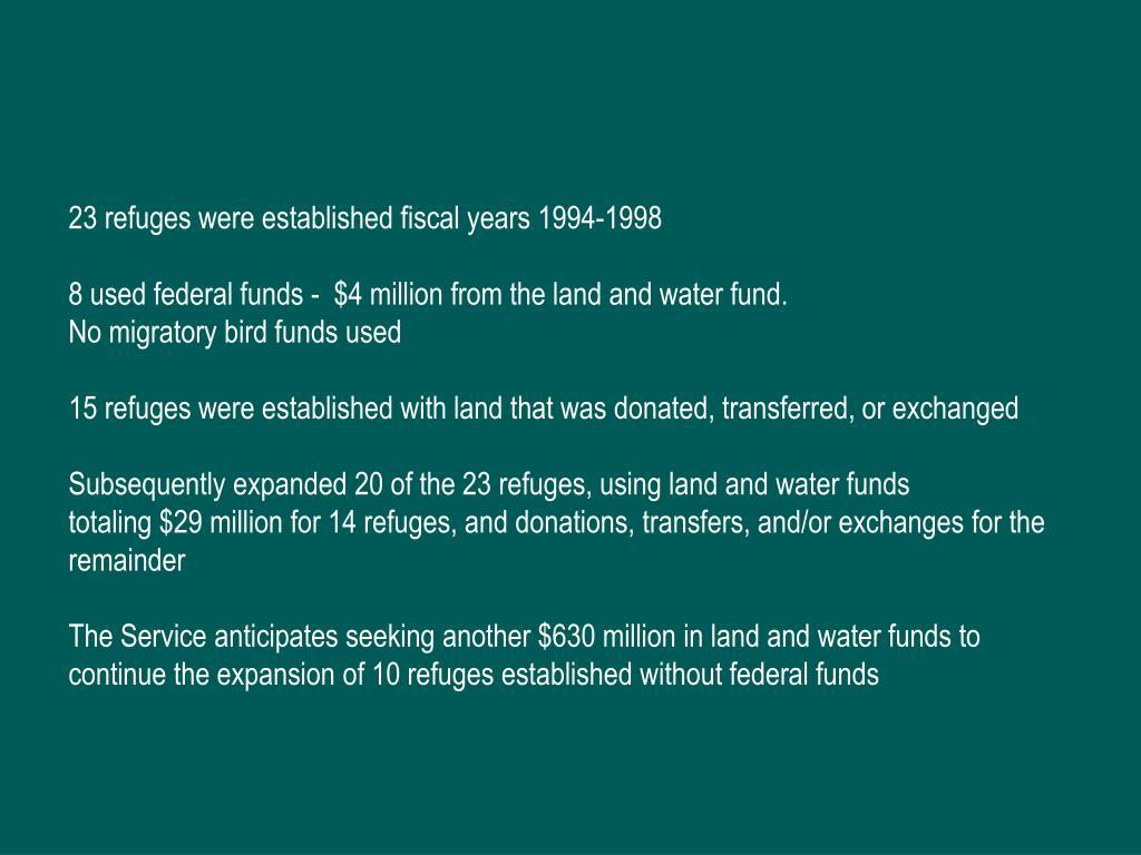 23 refuges were established fiscal years 1994-1998