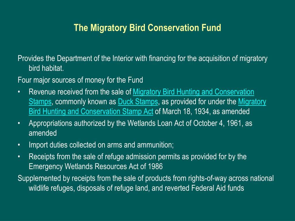 The Migratory Bird Conservation Fund