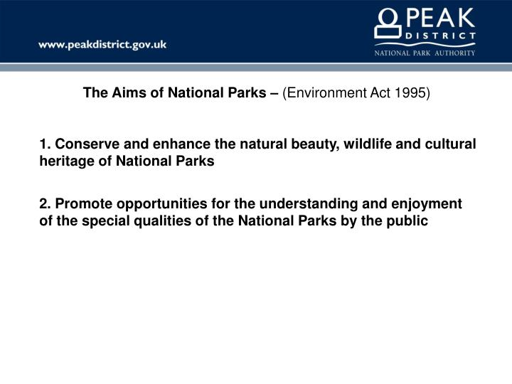 The Aims of National Parks –