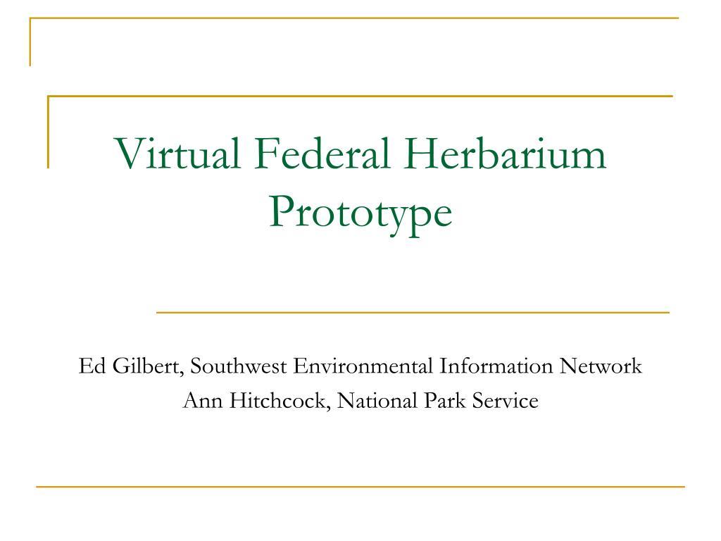 Virtual Federal Herbarium Prototype