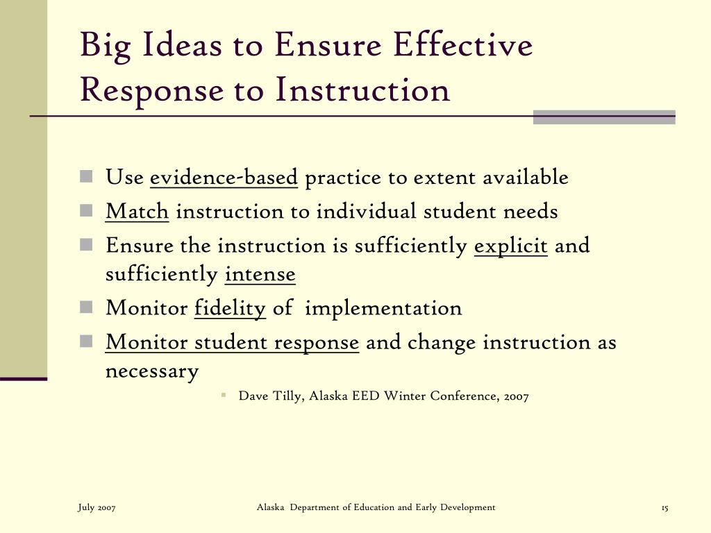 Big Ideas to Ensure Effective Response to Instruction