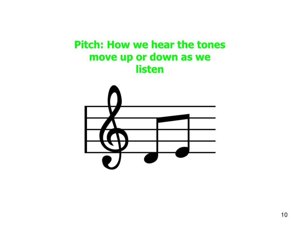 Pitch: How we hear the tones move up or down as we listen