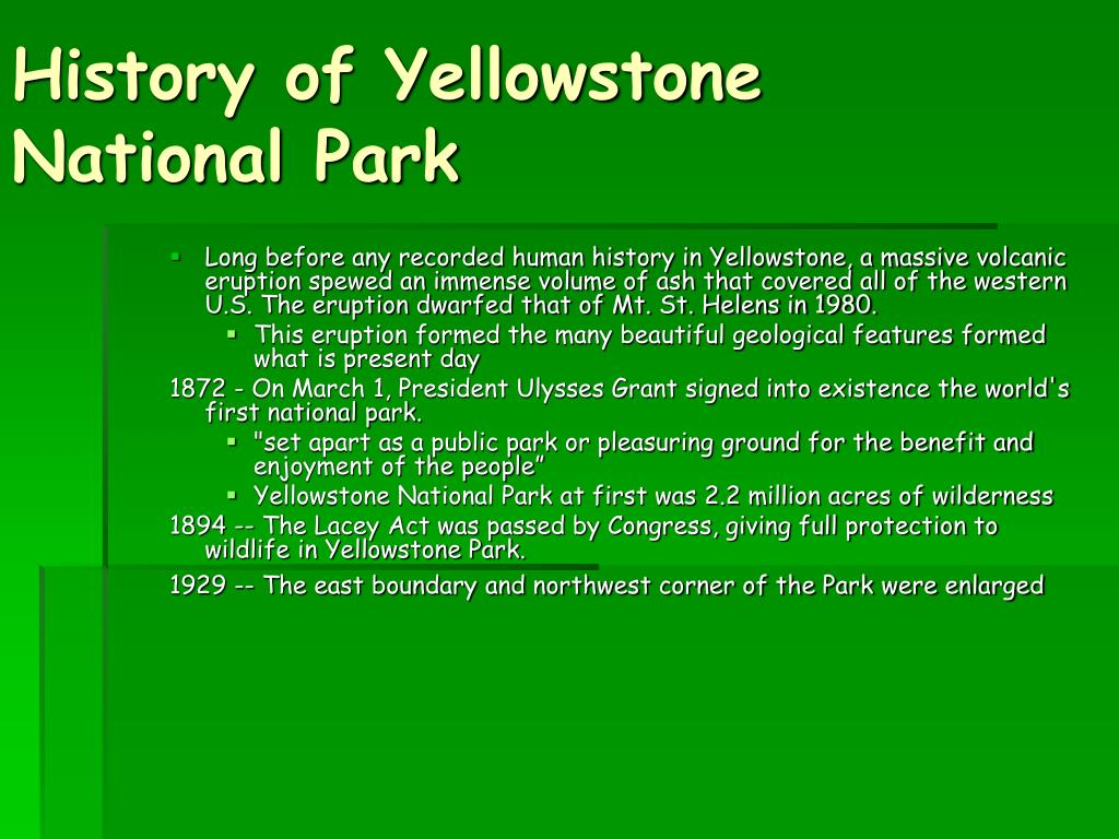History of Yellowstone National Park