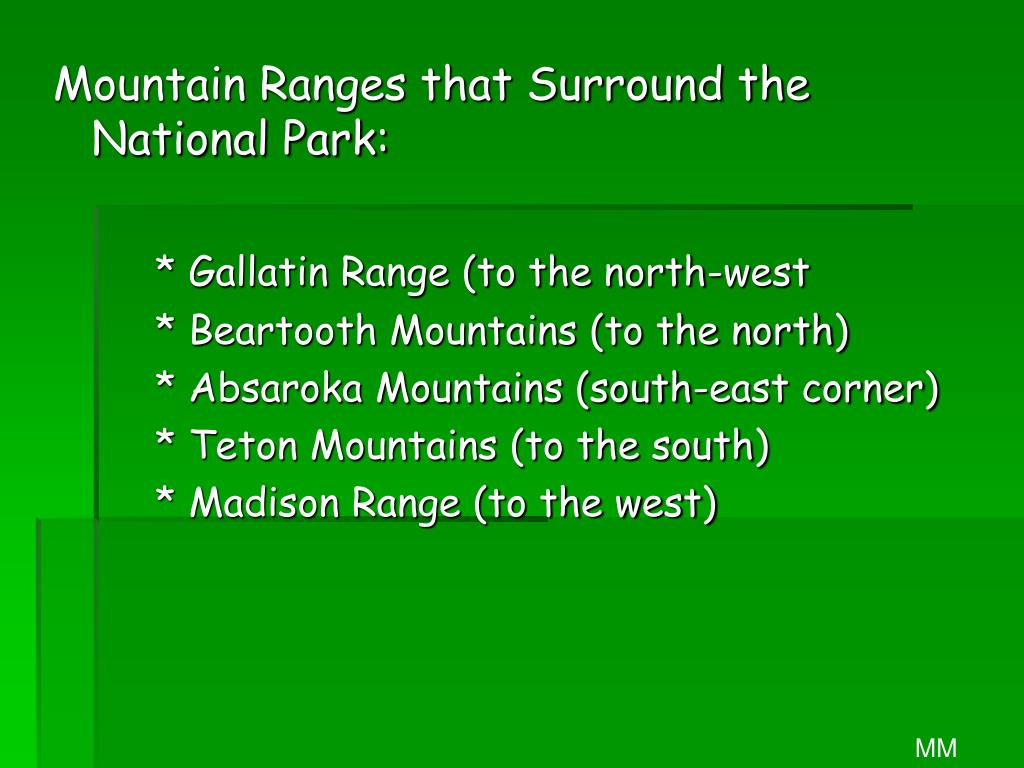 Mountain Ranges that Surround the National Park: