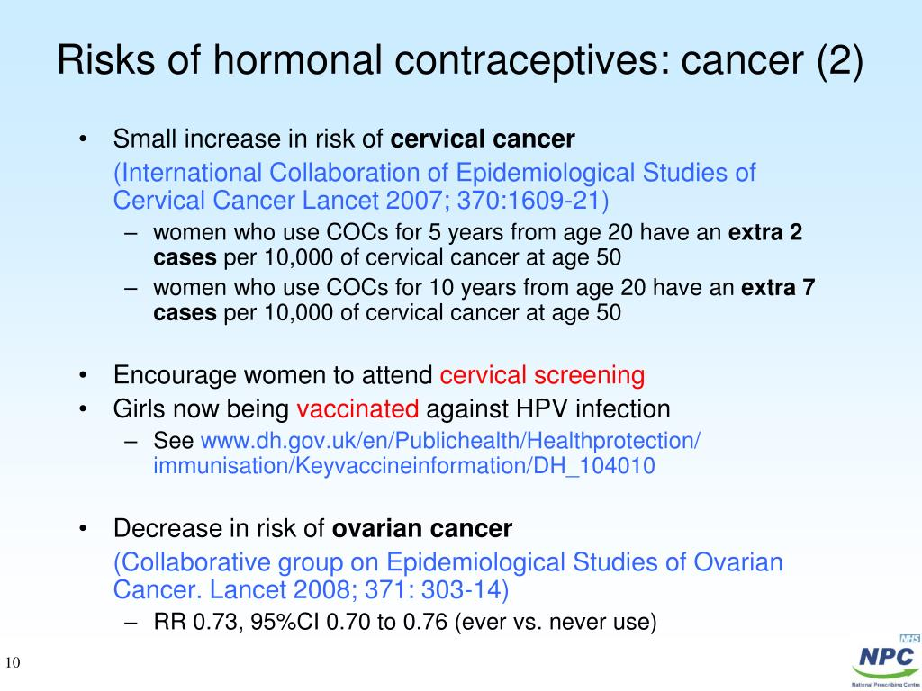 Risks of hormonal contraceptives: cancer (2)
