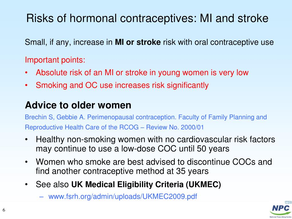 Risks of hormonal contraceptives: MI and stroke