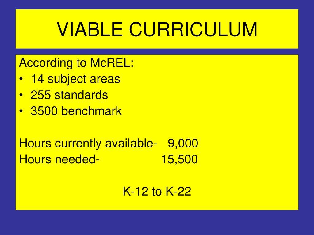 VIABLE CURRICULUM