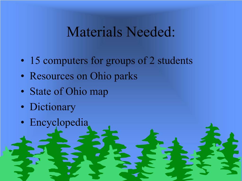 Materials Needed: