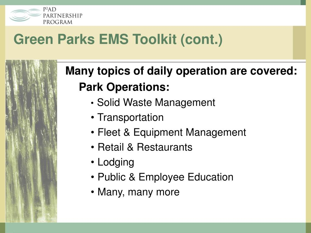 Many topics of daily operation are covered: