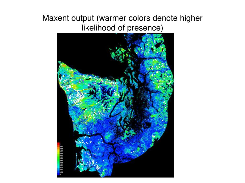 Maxent output (warmer colors denote higher