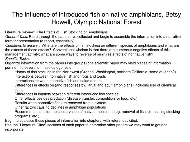 The influence of introduced fish on native amphibians betsy howell olympic national forest