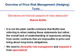 overview of price risk management hedging tools