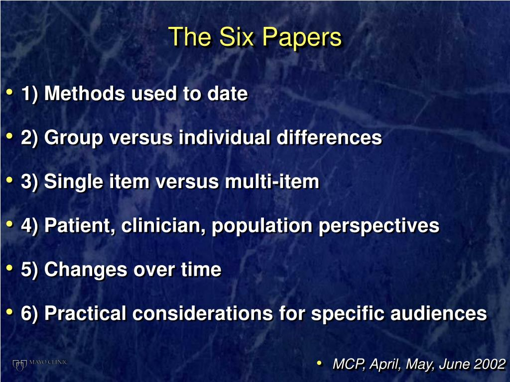 The Six Papers