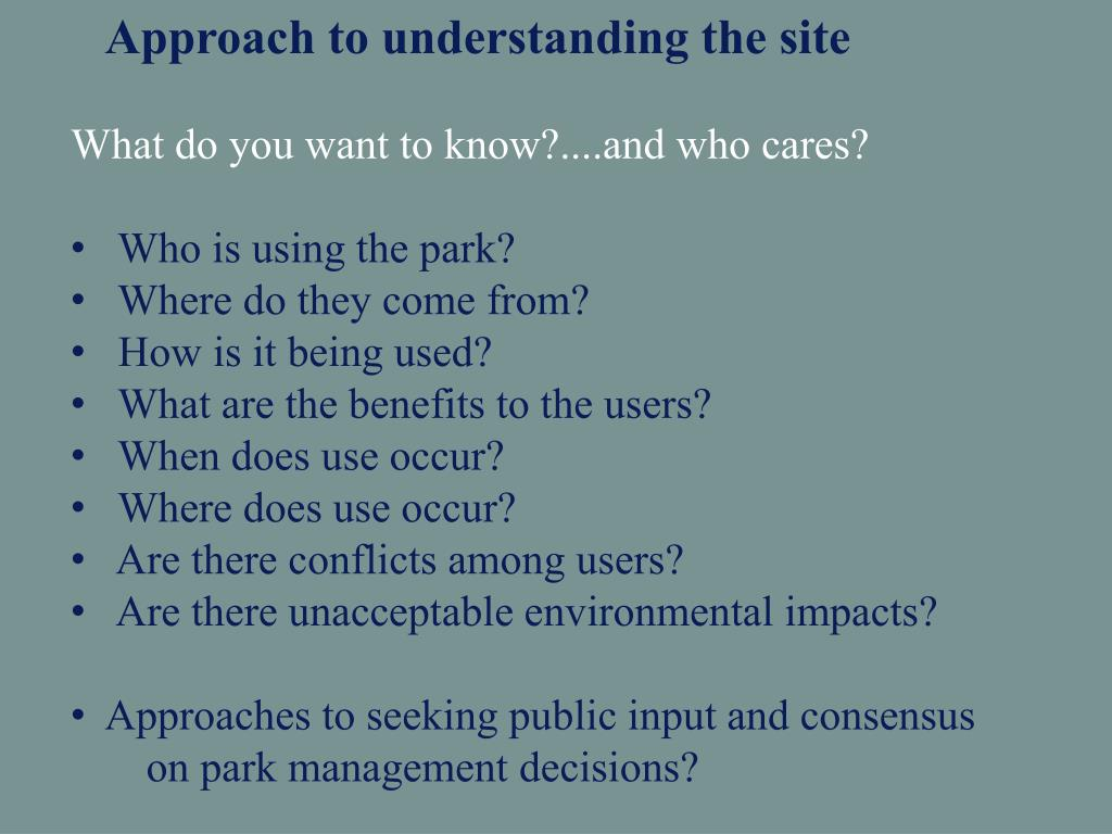 Approach to understanding the site