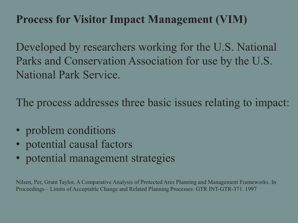 Process for Visitor Impact Management (VIM)
