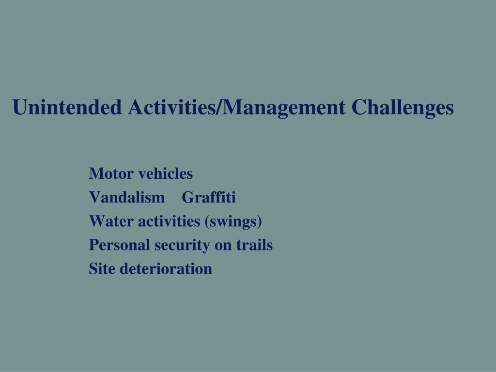 Unintended Activities/Management Challenges