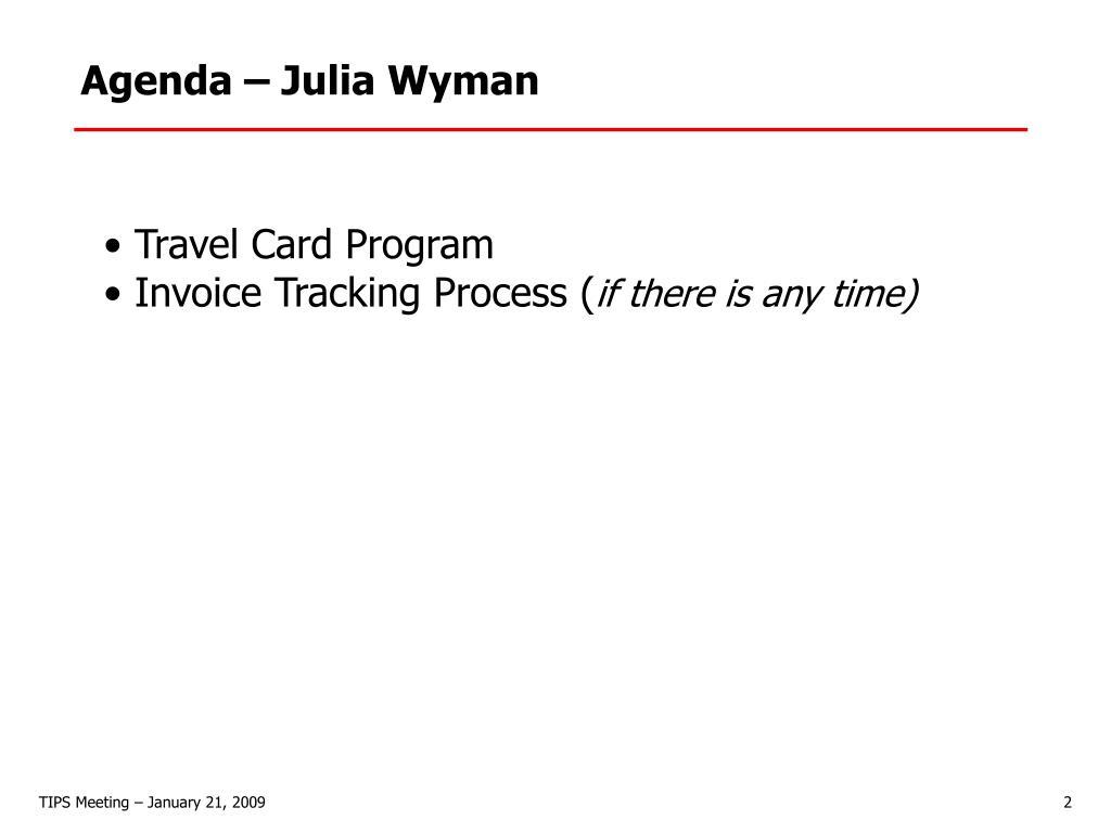 Agenda – Julia Wyman