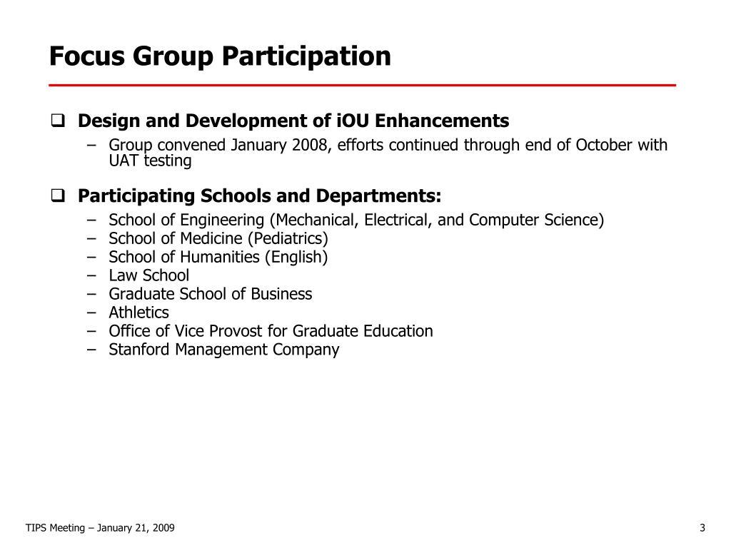 Focus Group Participation