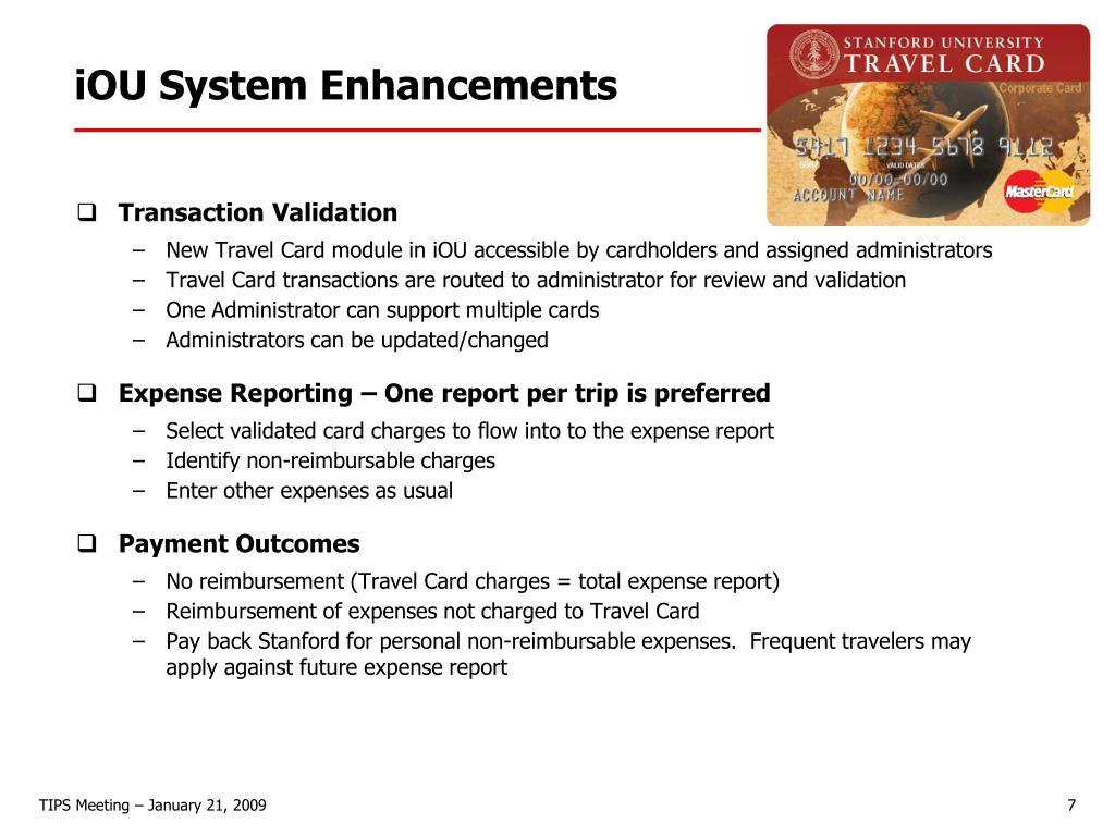 iOU System Enhancements