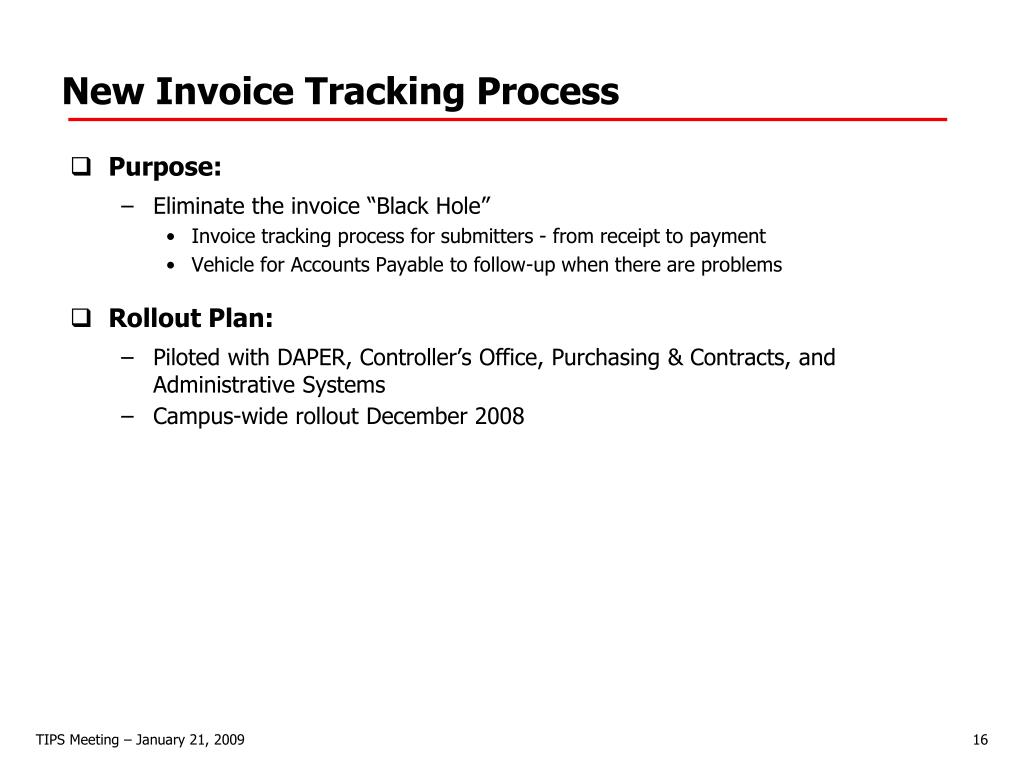 New Invoice Tracking Process