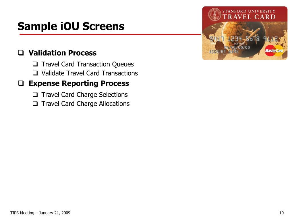 Sample iOU Screens