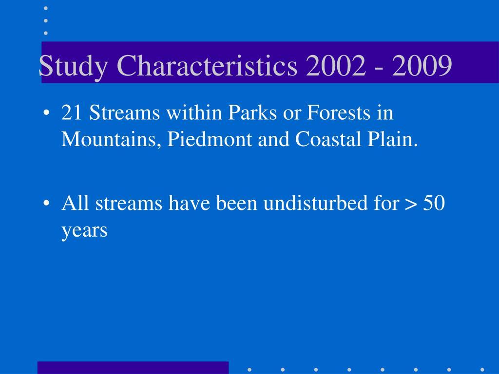 Study Characteristics 2002 - 2009
