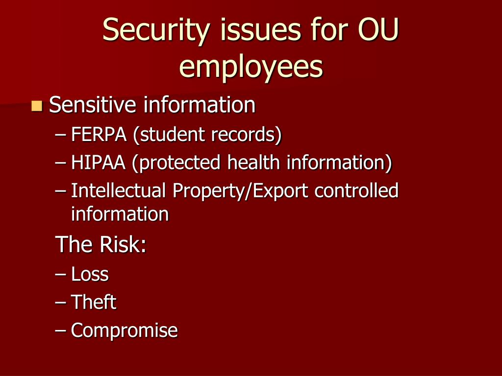 Security issues for OU employees