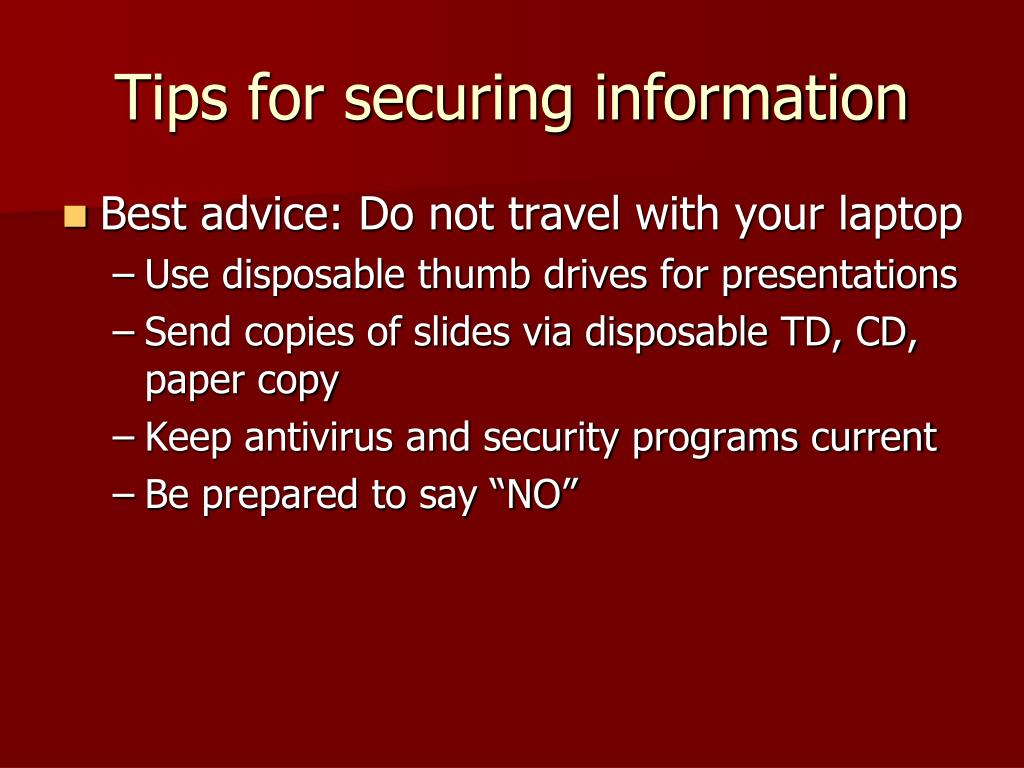 Tips for securing information