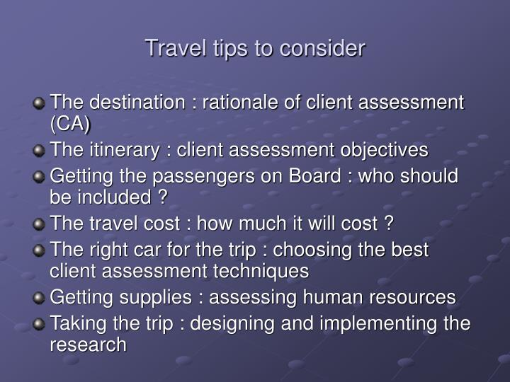 Travel tips to consider