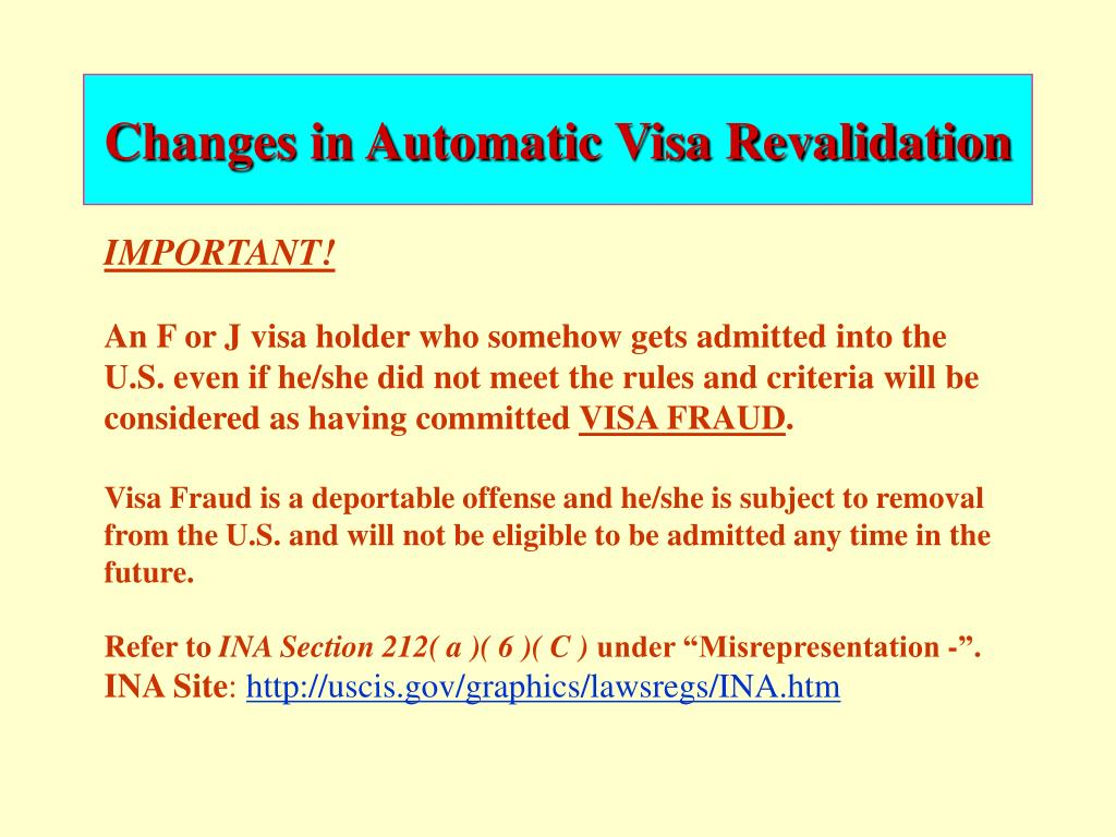 Changes in Automatic Visa Revalidation