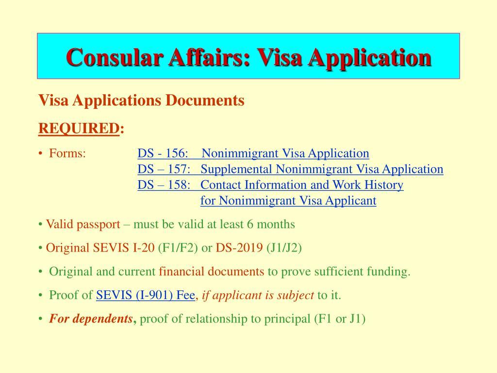 Consular Affairs: Visa Application