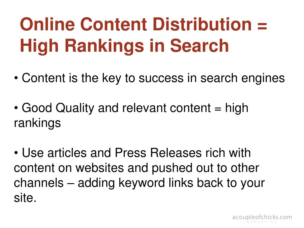Online Content Distribution = High Rankings in Search