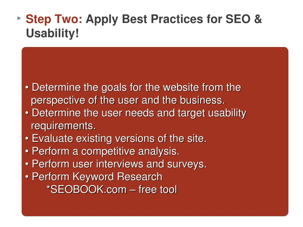 Determine the goals for the website from the