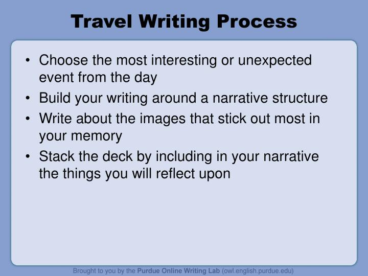 Travel writing process