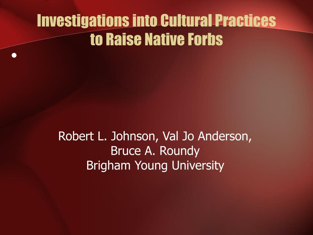 Investigations into Cultural Practices